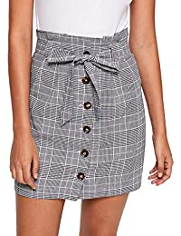 Women's Casual Plaid High Waist Button Closure A-line Mini Short Skirt