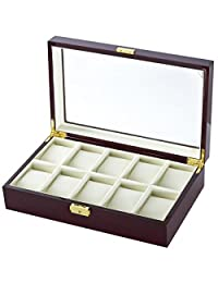 10 Watch Box Case in Cherrywood w/ Locking Lucite Display Top