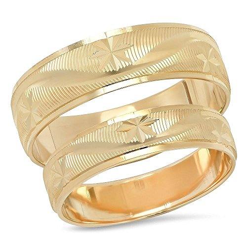 14K Solid Yellow Gold His & Her's Matching Snowflake Wave Design Wedding Band Ring Set (Choose a Size) (Design Wave Band)