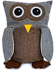 Lily's Home Cute Decorative Owl Weighted Interior Door Stopper, Compact with Patchwork Fabric Design, Gray and Brown