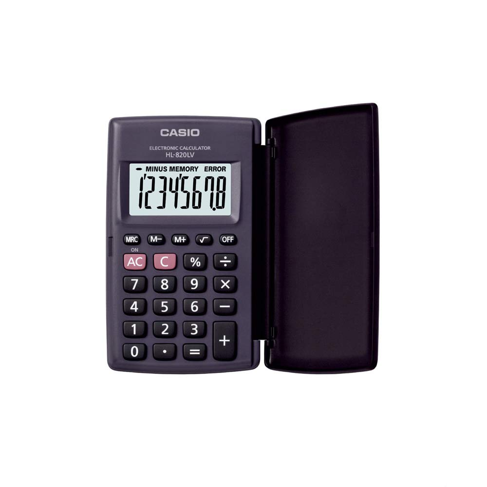 Casio HL820LV-BK Portable Calculator with Flap Cover product image