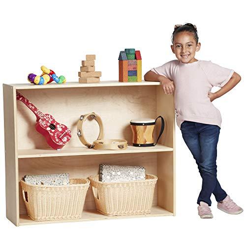 ECR4Kids Birch Streamline Storage Cabinet | Hardwood Classroom & Home Storage Solution for Kids | 2-Shelf with Back, 30″ H
