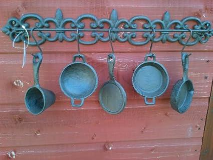 De hierro fundido para colgar sartenes y ollas de cocina de ...