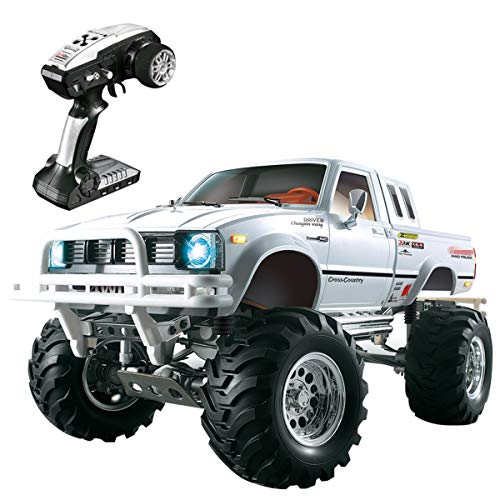 (BHTKJ HG Rally RC Car 1/10 2.4G 4WD Pickkup Truck, 3-Speed Radio Control Metal 4x4 Truck Rock Crawler (White))
