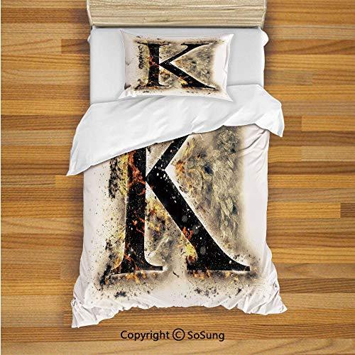 Letter K Kids Duvet Cover Set Twin Size, Smoked Letter K Alphabet in Blaze with Grunge Design Ignited Writing Symbol Decorative 2 Piece Bedding Set with 1 Pillow Sham,Tan Black Orange