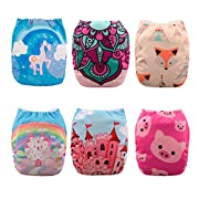 Babygoal 6PCS Baby Cloth Diapers,Reusable Washable Pocket Nappy, 6pcs+6 Inserts+4pcs Bamboo Inserts,Girl color 6FG34D