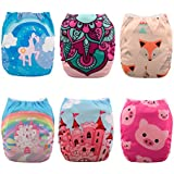 Babygoal 6PCS Baby Cloth Diapers,Reusable Washable Pocket Nappy, 6pcs+6 Inserts+4pcs Bamboo Inserts,Girl color 6FG34D