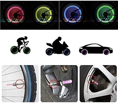 2 piezas de luces de ne/ón Color de la cubierta de la v/álvula de la rueda del neum/ático Luz LED L/ámpara Flash Tapas de la v/álvula del neum/ático del coche Cubierta de aire Cubierta de la llanta X-Baofu