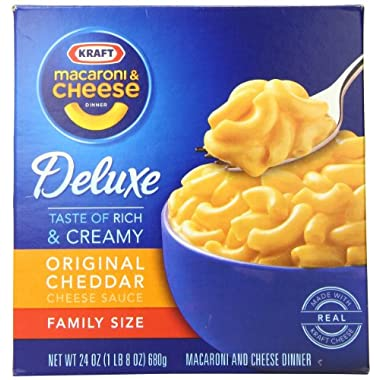 Kraft Deluxe Family Size Macaroni & Cheese Dinner, 24-Ounce Boxes (Pack of 3)