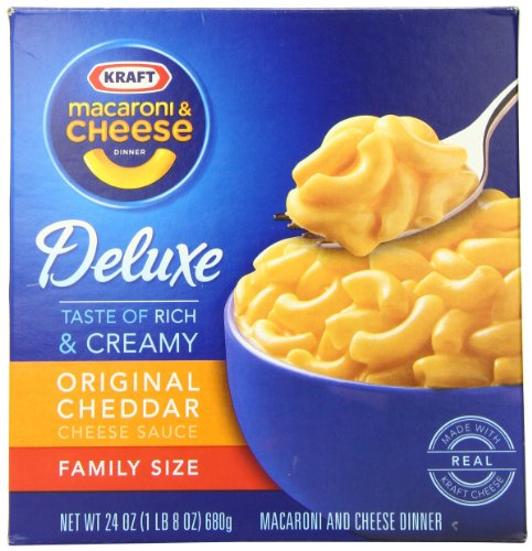 Kraft Deluxe Macaroni and Cheese Dinner, Original Cheddar, 24 Ounce Family Size Box (Pack of 3 Boxes) (Cheese Dinner)