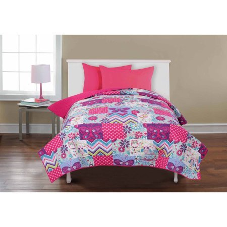 Mainstays Kids' Reversible Quilt, Owls and Butterflies Twin/Full