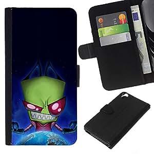 KLONGSHOP // Tirón de la caja Cartera de cuero con ranuras para tarjetas - Monstruo Verde Evil Ufo Villano extranjero Planeta Tierra - HTC Desire 820 //