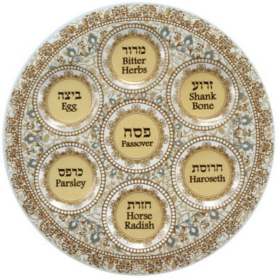 Full Passover Seder Plate and Matzah Holder Decorative Set Glass Paisley Design (Brown)