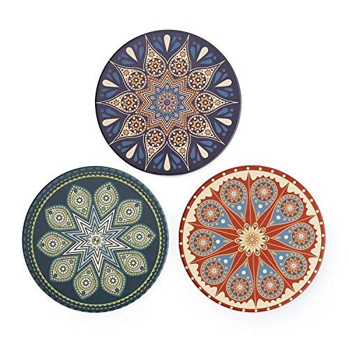 Sweese 3412 Drink Coasters - 3 Pack, Absorbent Stone Coasters Set with Cork Base, Suitable for Kinds of Mugs and Cups