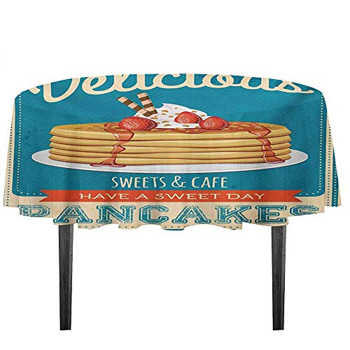 kangkaishi Vintage Leakproof Polyester Tablecloth Delicious Pancakes with Cream and Jam Eighties Diner Flyer Design Dinner Picnic Home Decor D51.18 Inch Cream Pale Brown and Blue]()