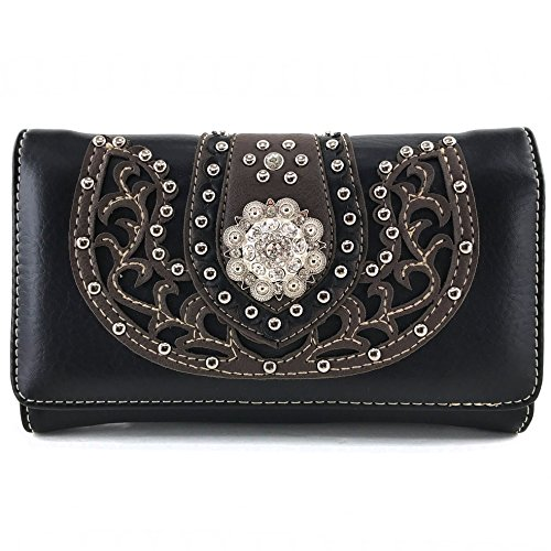 Justin West Tooled Floral Embroidery Buckle Studded Concealed Carry Tote Purse (Black Concho Wallet Only)