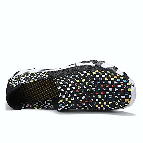 Comfort Woven 915 Sneakers Fashion Handmade Shoes Slip BLACK Lightweight Women Walking FZDX On Shoes 5qwPO