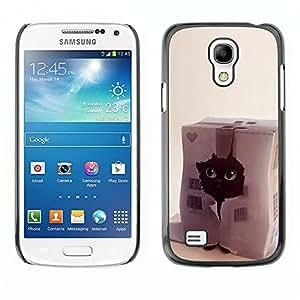TECHCASE**Cubierta de la caja de protección la piel dura para el ** Samsung Galaxy S4 Mini i9190 MINI VERSION! ** Funny Cat Cute Pet Black House Heart