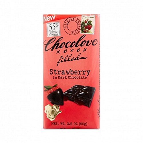 CHOCOLOVE XOXOX, BAR, STWBRRY CREME, DK CHOC, Pack of 10, Size 3.2 OZ - No Artificial Ingredients Kosher