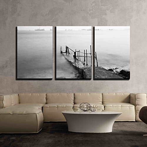 Jetty on Sea at Sunset x3 Panels