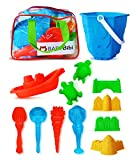 Sand Castle Building Kit (12 Pieces). Sand Castle Beach Toy Set for Kids. Sand Toys for Indoor & Outdoor Play - Sandbox & Beach Toy Kit. Sand Tools Set in Zippered Bag for Kids & Toddlers