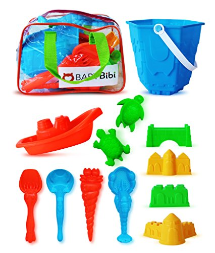 Sand Castle Building Kit (12 Pieces). Sand Castle Beach Toy Set Kids. Sand Toys Indoor & Outdoor Play - Sandbox & Beach Toy Kit. Sand Tools Set in Zippered Bag Kids & Toddlers - Gift Certificate Boat