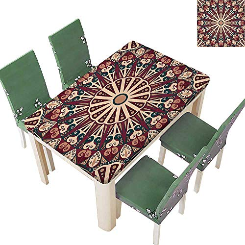 (Printed Fabric Tablecloth Moroccan Classic Circle Medallion Floral Ornament Tribe Artwork Print Maroon Da Washable Polyester 54 x 102 Inch (Elastic Edge))