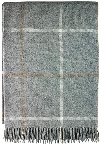 iLuv Large Soft Luxury Lambswool Merino Tattersall Throw - Pearl - Tattersall Wool