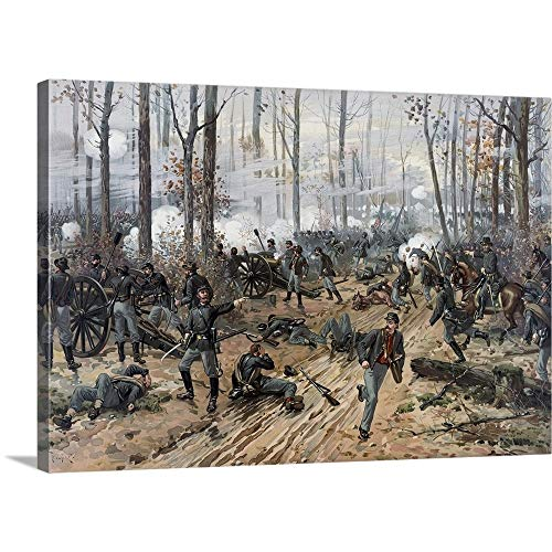 Solid-Faced Canvas Print Wall Art Print Entitled Civil War Painting of Union and Confederate Troops at The Battle of Shiloh 24