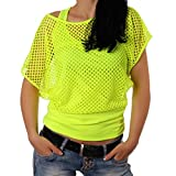 Smile fish Women Casual Sexy 80s Costumes Fishnet Neon Off Shoulder T-Shirt (S, Neon-Green)