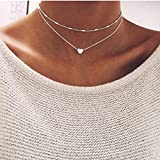 GUAngqi Women Layered Y Necklace Choker Multi-row Necklace,Silver,As description
