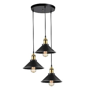 Plaque Design Métal 22cm CirculaireØ Lampes Idegu 3 Suspension Industrielle Plafonniers Support Avec Luminaire Edison Lustre De WID29EHY