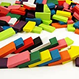 Aketek 240pcs Authentic Basswood Stand Wooden Kids Domino Racing Toy Gamedar