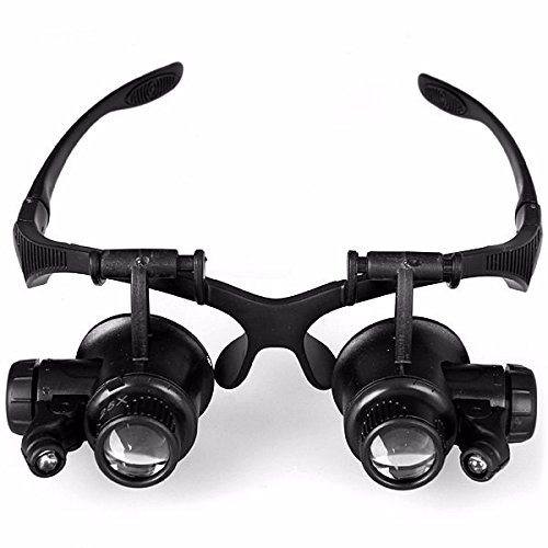 Magnifier Magnifying Glasses Reading Head Jewelers Headband Eye Glass Dental 10x 15x 20x 25x Clip Magnifing Lamp Large Led Optivisor - Wayfarer Band