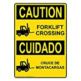 ComplianceSigns Vertical Plastic OSHA CAUTION Forklift Crossing - Cruce De Montacargas Sign, 10 X 7 in. with English + Spanish Text and Symbol, Yellow