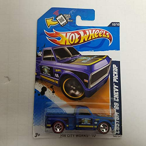 - Custom '69 Chevy Pickup (Blue Paint) 2012 HW City Works Hot Wheels 1/64 Scale diecast car no. 140