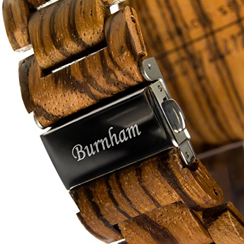 Burnham Wooden Watch - ARG001 Stylish Mens Wood Watches [Solid Natural Wood Grain] Upgraded Swiss Quartz Movement and Date [Easy set and adjust wood watch strap] Fine Crystal Face And Stainless Clasp by Burnham (Image #7)