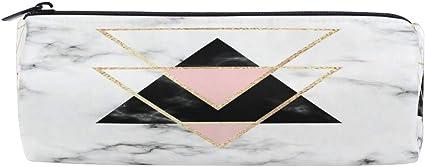 Estuche geométrico de piedra de mármol para lápices, color dorado y negro, para estudiante, oficina, universidad, escuela media, bolsa de maquillaje, bolsa de almacenamiento de cosméticos, organizador: Amazon.es: Oficina y papelería