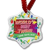 Personalized Name Christmas Ornament, Worlds best Twins, happy sparkels NEONBLOND
