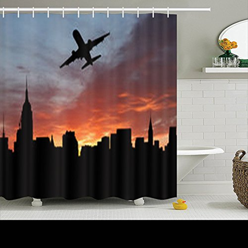 Shower Curtains Plane Departing Midtown Manhattan Sunset Illustration New York Jets 72Wx72L Inches Home Decorative Waterproof Polyester Fabric Bathroom Decor Bath ()