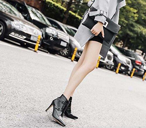 Señaló zapatos 35 de la de 40 tobillo Boots tamaño 10cm de otoño Corte Bootie 2017 de Encantador Toe Eu Nuevo cremallera Bondage invierno vestir cinturón metal e Black Scarpin Mujeres zapatos Hebilla EvwCqX