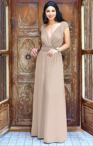 Flügelärmeln Brautjungfern Kleid mit Cocktail Lang Koh Braun Reizvolles Party Damen Koh Maxikleid IZwWY6A