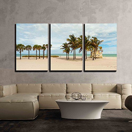 wall26 - 3 Piece Canvas Wall Art - Beautiful Crandon Park Beach located in Key Biscayne in Miami. - Modern Home Decor Stretched and Framed Ready to Hang - 16