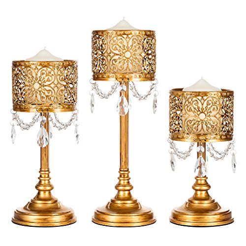 Amalfi Décor Victoria 3-Piece Antique Gold Hurricane Candle Holder Set with Crystals, Metal Pillar Wedding Accent (Baroque Candlestick)