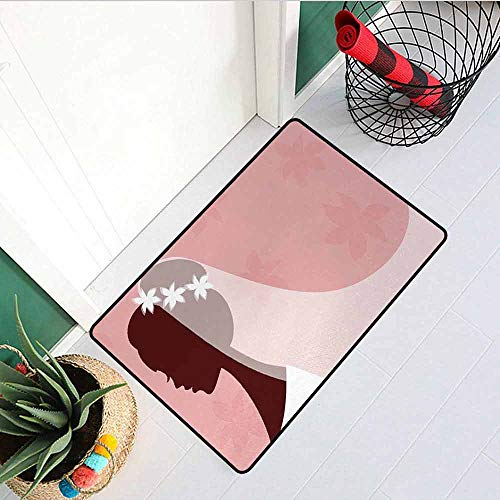 - GloriaJohnson Bridal Shower Universal Door mat Bride in Wedding Dress on Pink Backdrop with Veil Celebration Image Door mat Floor Decoration W29.5 x L39.4 Inch Light Pink and White