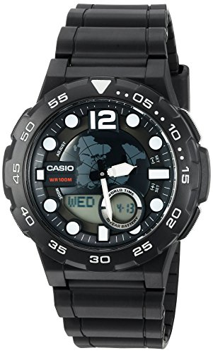 Casio Men's '3D Dial' Quartz Resin Watch, Color:Black (Model: AEQ100W-1AV) - Mens Quartz Black Resin