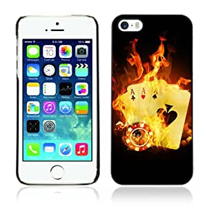 CaseCaptain Carcasa Funda Case - Apple iPhone 5 / 5S / Burning Aces Cards Cool Photo /
