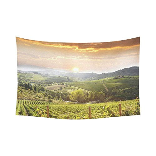 KRISTI MCCARTNEY Sunset View Wall Art Home Decor, Chianti Vineyard Landscape in Tuscany, Italy Tapestry Wall Hanging Art Sets 90 X 60 Inches