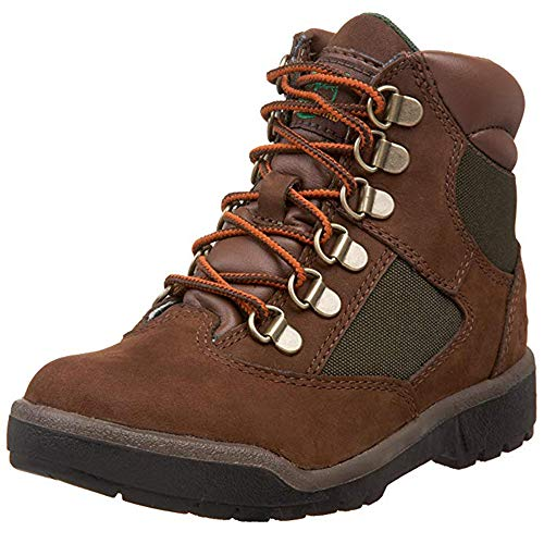 Timberland 6-Inch Leather and Fabric Field Boot (Toddler/Little Kid/Big Kid),Brown Nubuck with Green,10 M US Toddler