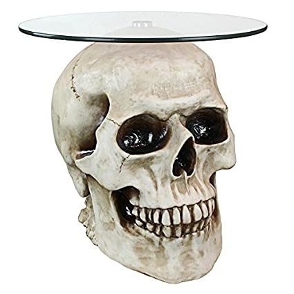 Delicieux Design Toscano JQ103776 Lost Souls Gothic Skull Glass Topped Table, Bone